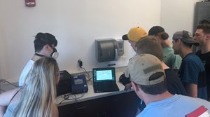 Slipperty Rock University students learning PortaCount respirator fit testing